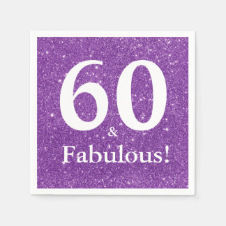 60 & Fabulous! Purple Glitter Sixtieth Birthday Napkin