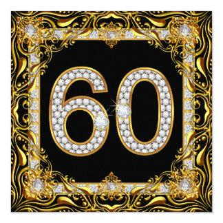 "60 Gold Diamond Black 60th Birthday Party 5.25"" Square Invitation Card"