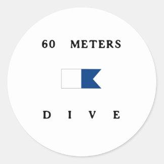 60 Meters Alpha Dive Flag Round Sticker