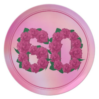 60 number birthday anniversary 60th floral plate