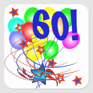 60! Or Any Age Birthday Balloons Stickers