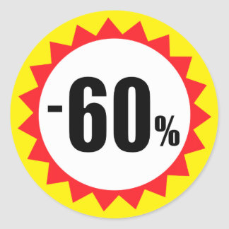 60 percent sale discount stickers red white yellow