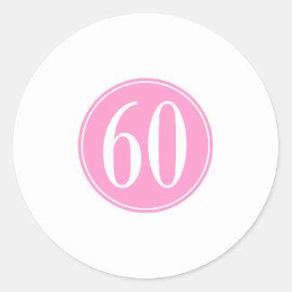 #60 Pink Circle Round Sticker