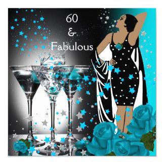 60 roses turquoises fabuleux Martini de Carton D'invitation 13,33 Cm