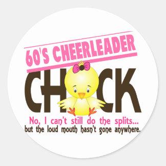60's Cheerleader Chick Round Stickers