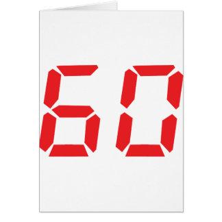 60 sixty red alarm clock digital number card