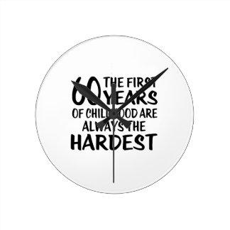 60 The First  Years Birthday Designs Round Clock