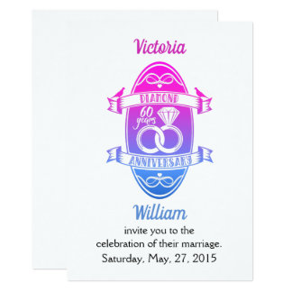 60 traditional diamond 60th  wedding anniversary card