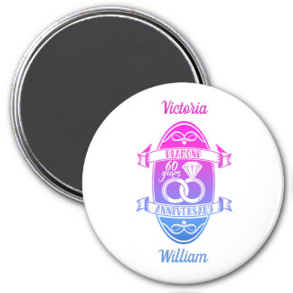60 traditional diamond 60th  wedding anniversary magnet