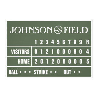 "60"" x 40"" Baseball Scoreboard Wrapped Canvas"