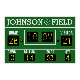 "60"" x 40"" Personalized Football Scoreboard Poster"