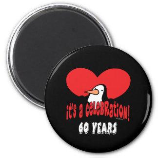60 Year Celebration Penguin 2 Inch Round Magnet