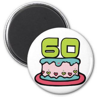60 Year Old Birthday Cake 2 Inch Round Magnet