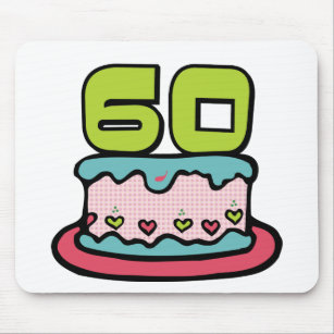 60 Year Old Birthday Cake Mouse Pad