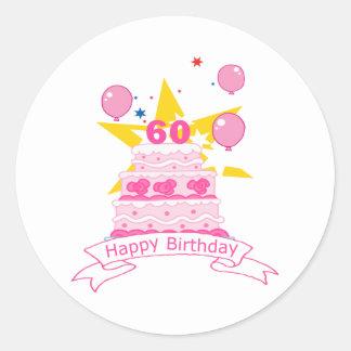 60 Year Old Birthday Cake Round Sticker