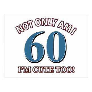 60 year old birthday designs postcard
