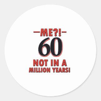 60 year old designs round sticker