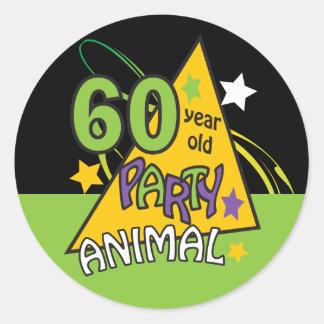 60 Year Old Party Animal   60th Birthday Round Sticker