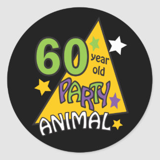 60 Year Old Party Animal - 60th Birthday Round Sticker