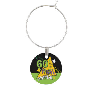 60 Year Old Party Animal - 60th Birthday Wine Glass Charms
