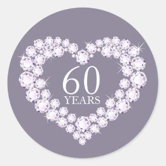 60 years diamond heart grey & white stickers