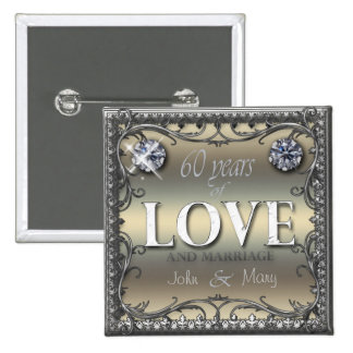 60 Years of Love 2 Inch Square Button