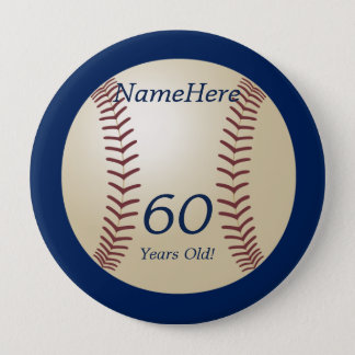 60 Years Old, Baseball on Blue Button Pin
