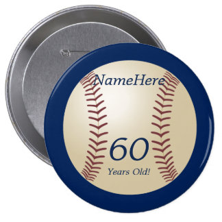 60 Years Old Baseball on Blue Button Pin