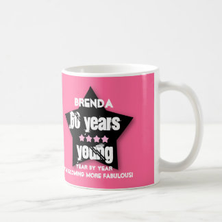 60 Years Young or ANY YEAR V03A PINK BLACK STAR Coffee Mug
