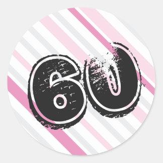 60 yr Bday Pink - 60th Birthday Round Sticker