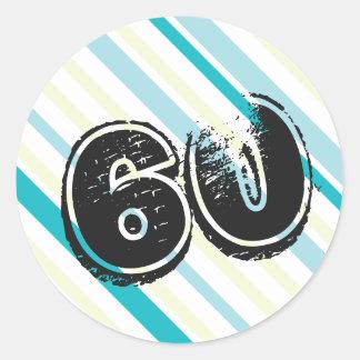 60 yr Bday Striped 60th Birthday Round Stickers