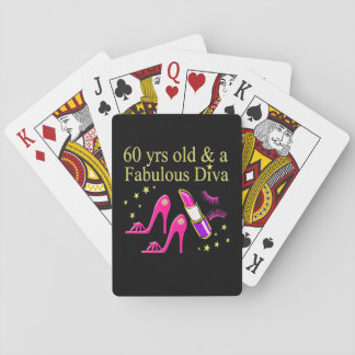 60 YRS OLD & A DAZZLING DIVA PLAYING CARDS