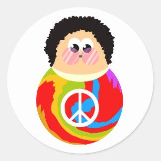 60's Child Funny Cartoon Peace Kid Round Sticker