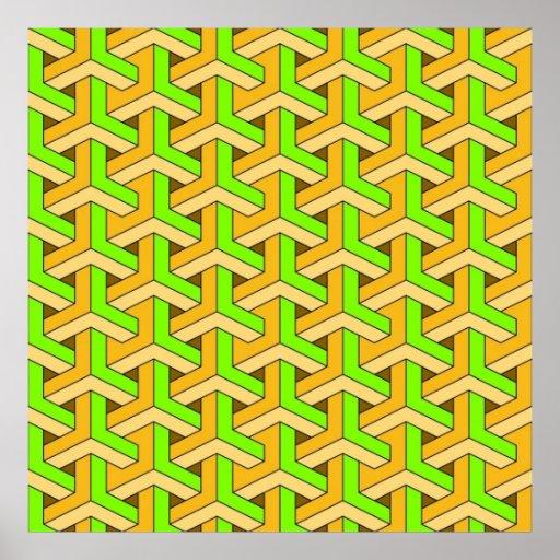60s design green print