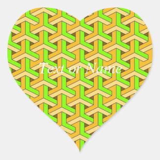 60s design green heart sticker