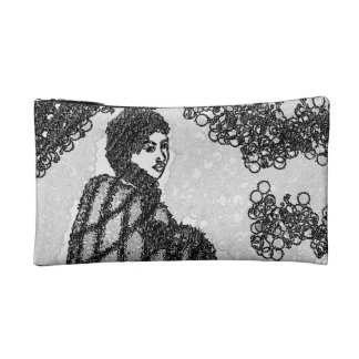 60's hippie woman, black and white makeup bag