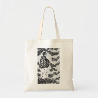 60's hippie woman, black and white tote bag