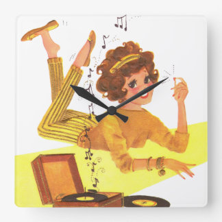 60's Music Girl Square Wall Clock