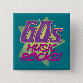 60s Music Rocks! 2 Inch Square Button