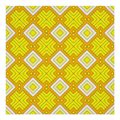 60s pattern MARLENE, yellow Poster