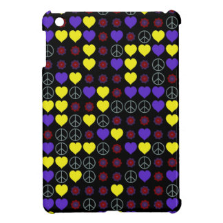 60's Peace Signs, Hearts and Flower Power Design iPad Mini Cover