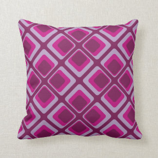 60's pink and purple squares throw pillow
