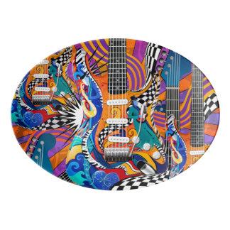 60's Retro Guitar Platter Plate Color Print Plate