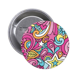 60s Retro Hippy Peace Pattern 2 Inch Round Button