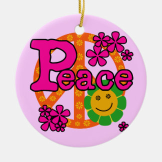 60s Style Peace T-shirts and Gifts Ceramic Ornament