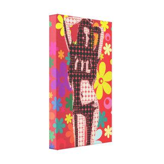 60s theme flower child retro pop art canvas print