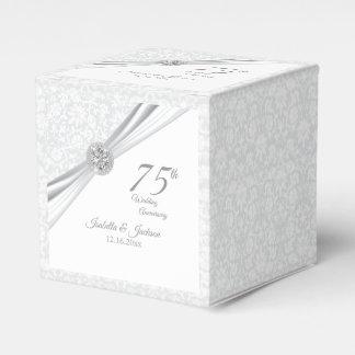 60th / 75th Diamond Wedding Anniversary on White Favor Box
