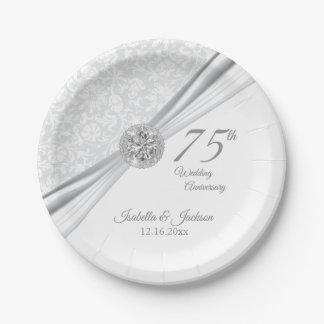 60th / 75th Diamond Wedding Anniversary on White Paper Plate