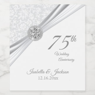 60th / 75th Diamond Wedding Anniversary Wine Label