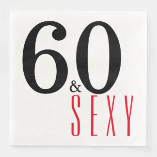 60th and Sexy Birthday Party Paper Napkins